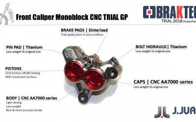 Braktec presentó en Japón su última joya: la pinza CNC Monoblock para Trial de competición