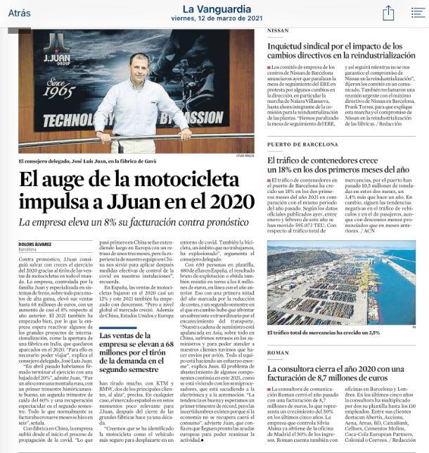 La Vanguardia valora positivamente la actuación de J.Juan en 2020